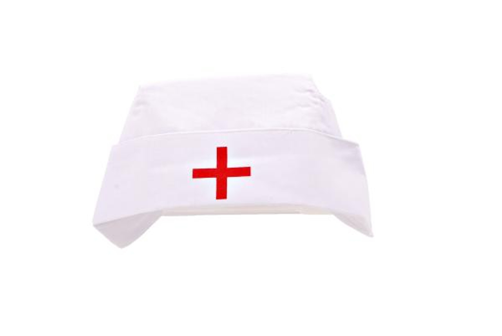 Nurse Hat White Cap With Red Plus Symbol For First Aid