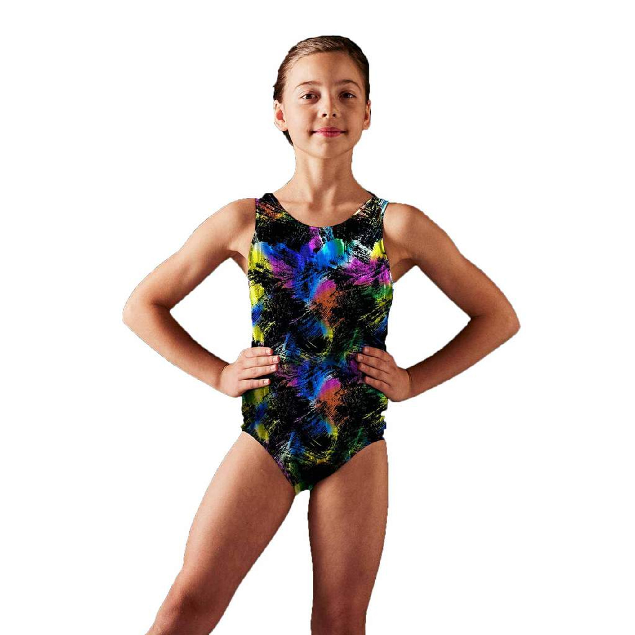 Zombie Gymnast Halloween Costume.Bloch Gymnastics Fireworks Foil Girls Tank Leotard