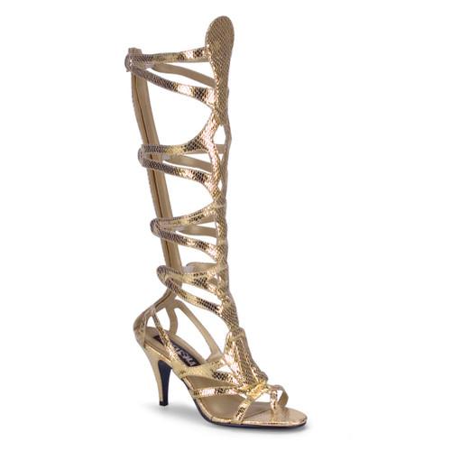 """3 1/2"""" Heel Goddess Gold Snake Skin Egyptian Sandal with Straps"""