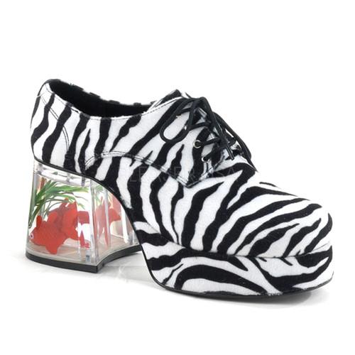 "3 1/2"" Heel Pimp Shoe with Floating Fish Zebra Fur"