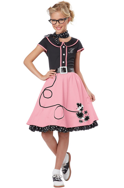 50's Sweetheart Girl's Pink Poodle Skirt Dress