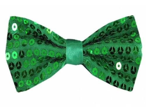Sequin Bow Tie w/ Elastic - Green