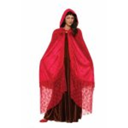 /medieval-elegant-cape-red-hooded-with-lace-bottom/