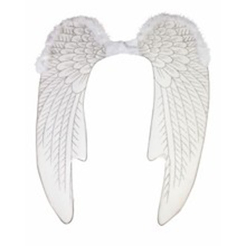 White Angel Wings with Silver Glitter Nylon Long