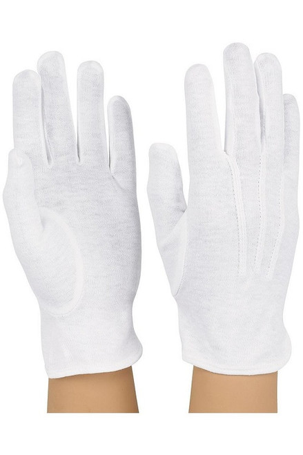 White Cotton Wrist Length Military Style Gloves