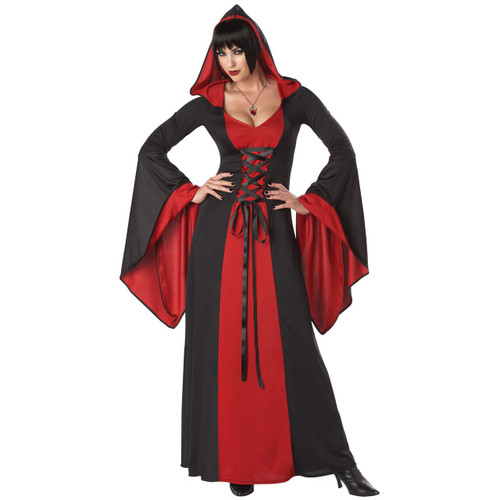 Hooded Deluxe Robe w/ Lace - Black & Red