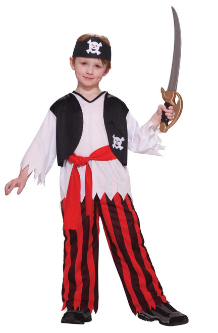 Pirate Boy Costume with Striped Pants and Headband