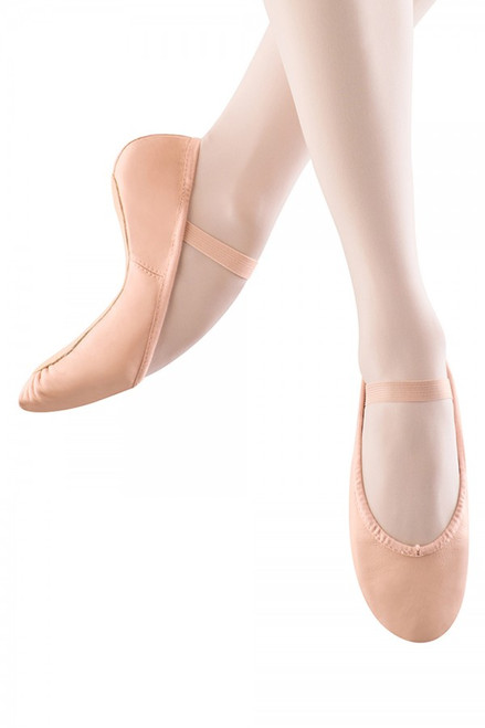 Bloch Best Seller! The Bloch Dansoft is a classic introductory ballet flat with a full sole.  Features  An ideal student ballet shoe with a full sole and elastic already attached over the instep It has a strong yet flexible leather upper and a cotton lining Pre Sewn elastic strap Elastic drawstring to adjust shoe to hug the foot. Fabric  Leather upper; Suede Sole Sizing Information & Suggestions  Start with 2 sizes down from street shoe. Width Suggestions: A - Very narrow B - Narrow/Medium C - Medium D - Wide E - Very Wide