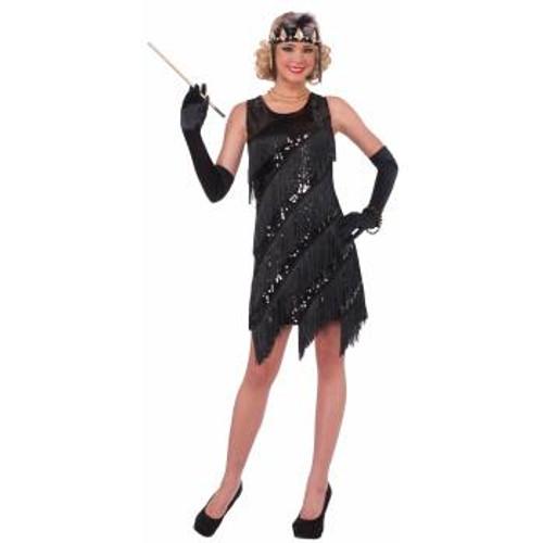 20's Midnight Dazzle Flapper Dress Black Sequin & Fringe