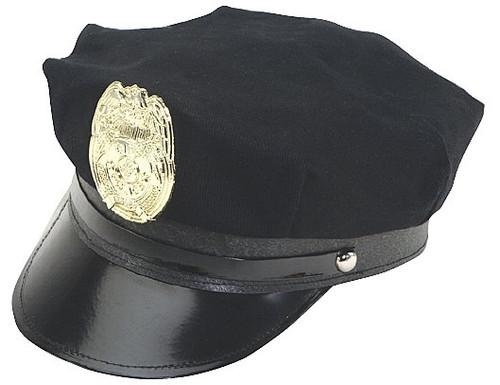 /black-police-hat-w-gold-badge-adjustable-cap/