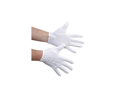 White Cotton Military Glove with Snap Closure