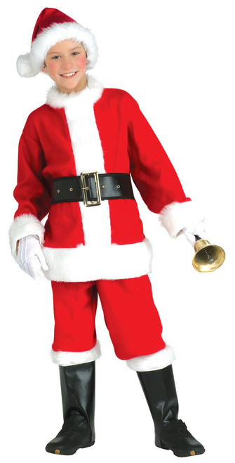 Santa Suit For Kids Flannel Hat, Jacket, Pants, Belt, Gloves, an Boot tops
