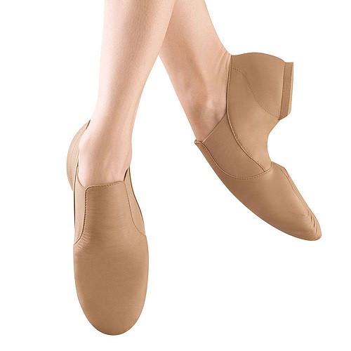 Bloch Elasta Bootie Slip On Jazz Shoes - Tan