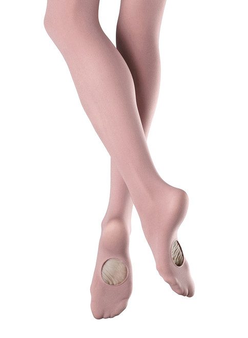 """Ladies Endura Adaptatoe Tight. Convertible styling allows the dancer to wear the tight as footed or footless. Perfect for switching between several styles of dance. Bloch tights are supremely soft and durable.   Features   Convertible foot soft feel tight Seamless legs 1"""" Waistband Dyed-to-match gusset  Fabric   88% Nylon, 12% Spandex  Notes   In the interest of hygiene, tights and underwear are non-returnable or exchangeable unless faulty"""