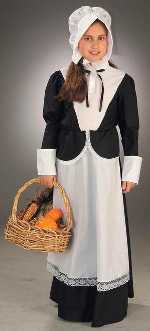 Pilgrim Girl Costume Bonnet & Dress with attached Apron