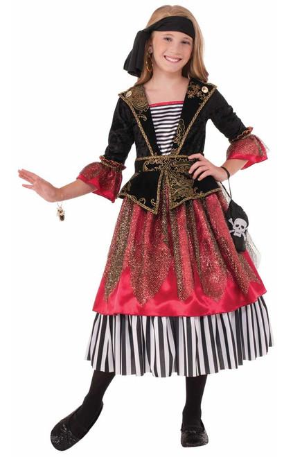 Caribbean Crimson Pirate Girl Dress Kids