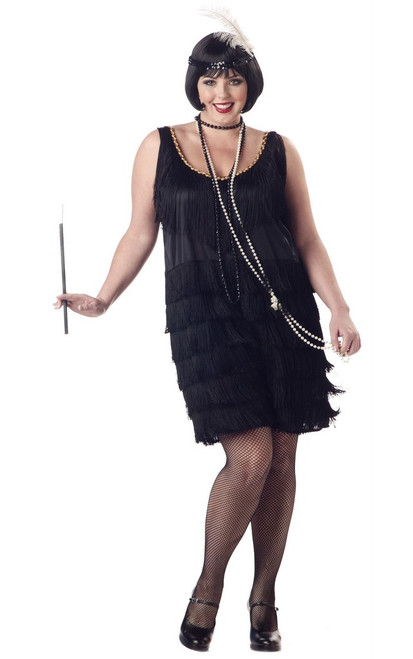 20's Black Fashion Flapper Full Figure Costume