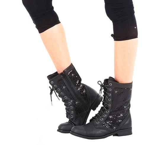 Kids Sequin Combat Dance Boots w/ Non-Marking Soles