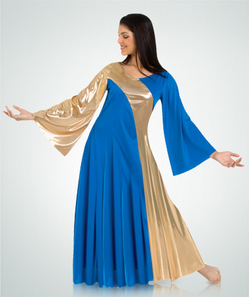Ladies Asymmetrical Two-Toned Bell Dress