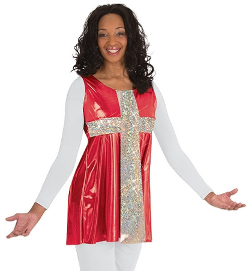 Adult Flowing Cross Sleeveless Tunic Pullover