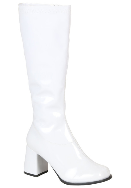 """Gogo Boots White 3"""" Heel with Zip Up Side"""