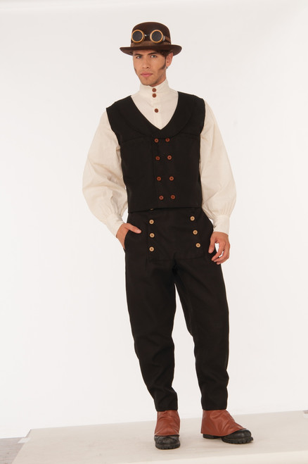 Steampunk Vest Black with working double pockets