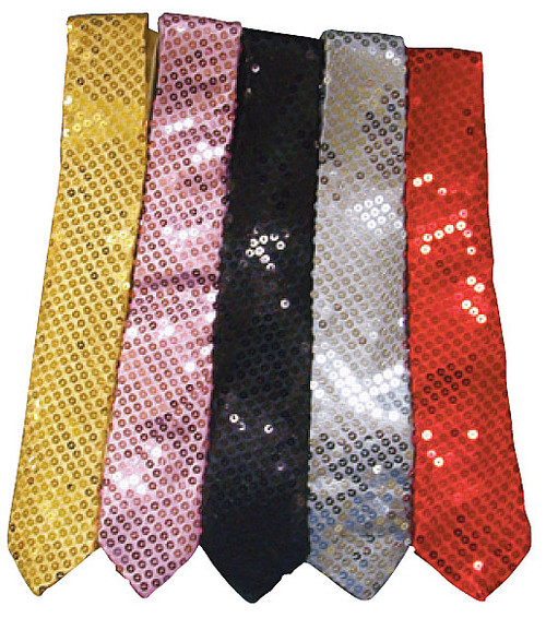 Sequin Skinny Tie - Gold