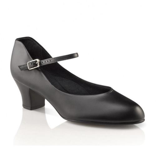 """Capezio Jr Footlight Black Character Shoe 1.5"""" Heel"""