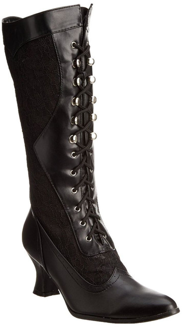 """Rebecca lace trimmed lace up boots with 2.5"""" heel"""