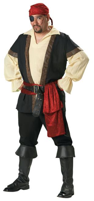 Rent: Men's Plus Size Pirate Shirt w/ Vest, Boot Tops, Sash, Bandana & Belt (5402INCHRENT)
