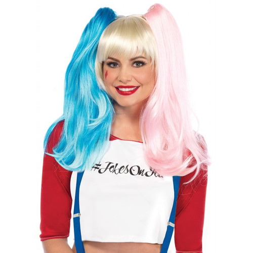 Deviant Doll Wig w/ Clip on Pony Tails Pink & Blue