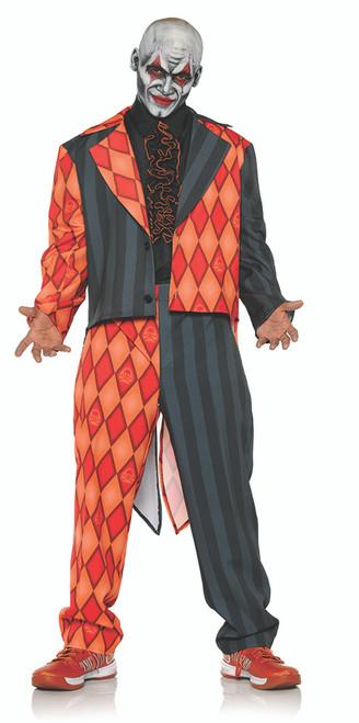 Thriller Adult Mens Black & Orange Diamonds Skull & Crossbone Tuxedo Costume