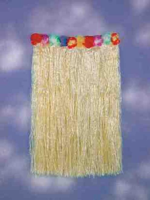 """Grass Skirt with Flower Trim Adult Waist 36"""" & Length 32"""""""