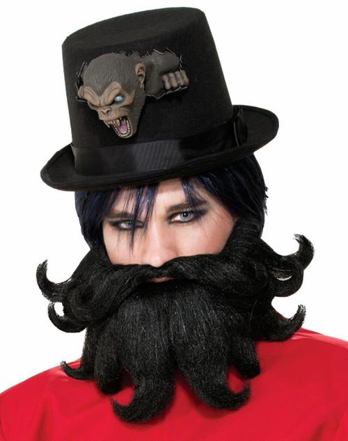 Scoundrel Victorian Steampunk Side Show Style Black Moustache & Beard (73411)