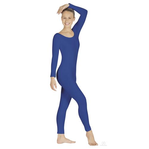 Eurotard Plus Size Adult Microfiber Long Sleeve Unitard - Blue