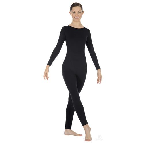 Eurotard Plus Size Adult Zipper-Back Long Sleeve Unitard - Black