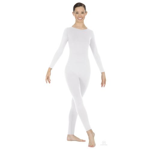 Eurotard Plus Size Adult Zipper-Back Long Sleeve Unitard - White