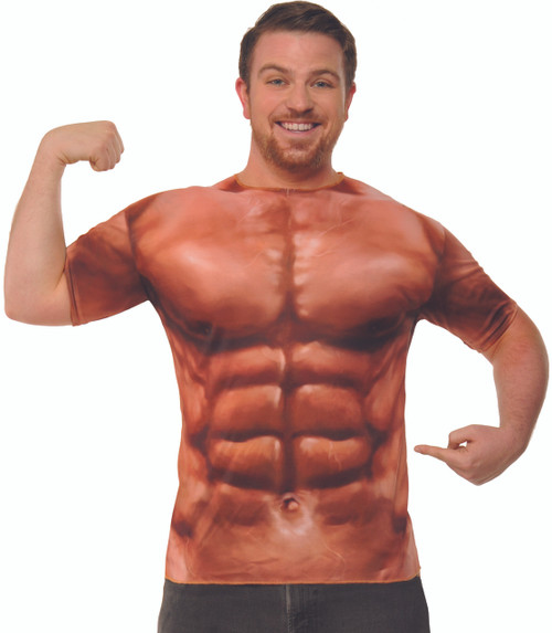 Muscle Shirt Adult Tee Shirt with Print Abs on Front