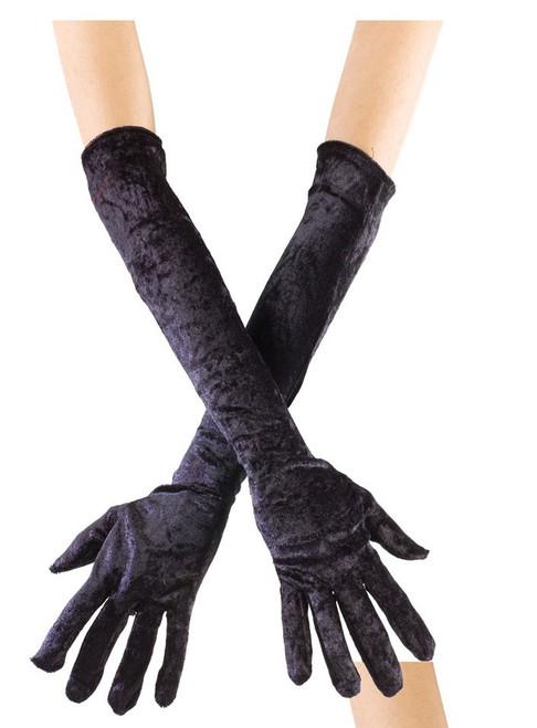 Gloves Velvet Long Opera Length - Black