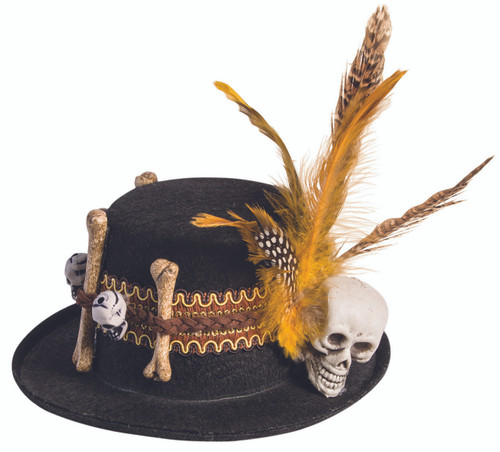 Voodoo Mini Hat with Skulls and Feathers