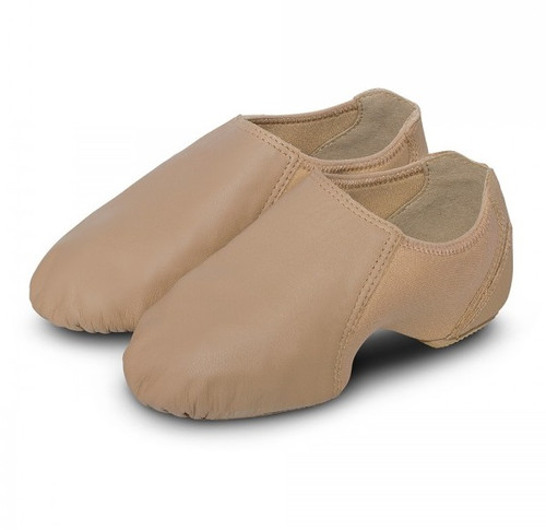 The Spark jazz shoe features a sleek low profile silhouette for the most flattering profile in jazz.  Features  New low profile heel to get closer-to-the-floor feeling. Supple leather combined with arch hugging neoprene midsection for the ultimate fit, form, and function Split-sole design for flawless pointe Sole patch provides shock absorbing comfort and effortless turns Cut-out heel notch allows full articulation Full heel counter for added stability Lower top line affords glove-like fit from heel to toe New improved fit Fabric  Leather, Neoprene Sizing Information & Suggestions  Start with street shoe to 1/2 size up.