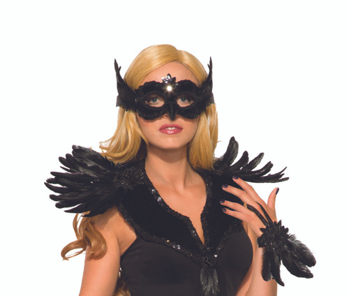 Raven Mask Black Frontal with a Ribbon Tie Mardi Gras Mask