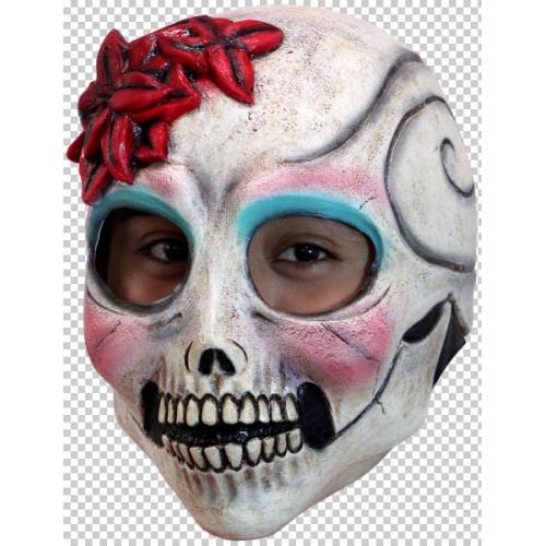 La Senorita Mask Skeleton Face with Red Flower