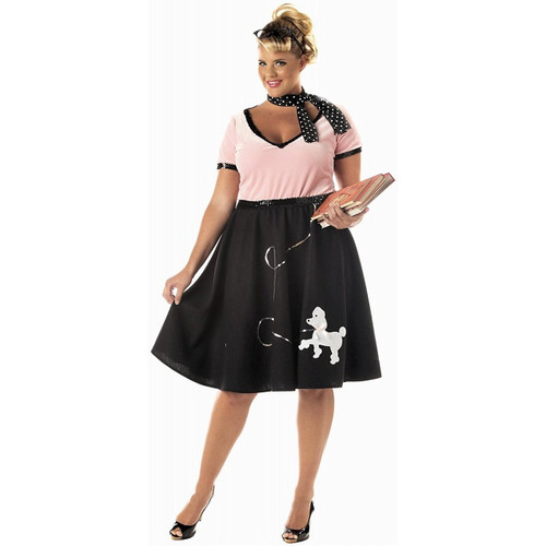 50's Sweetheart Plus Size Black & Pink Poodle Skirt Dress