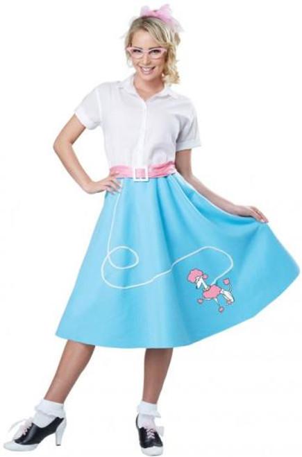 50's Poodle Skirt Adult Blue