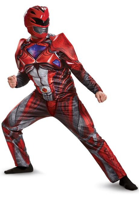 Power Ranger Movie Licensed Red Ranger Muscle Adult Costume
