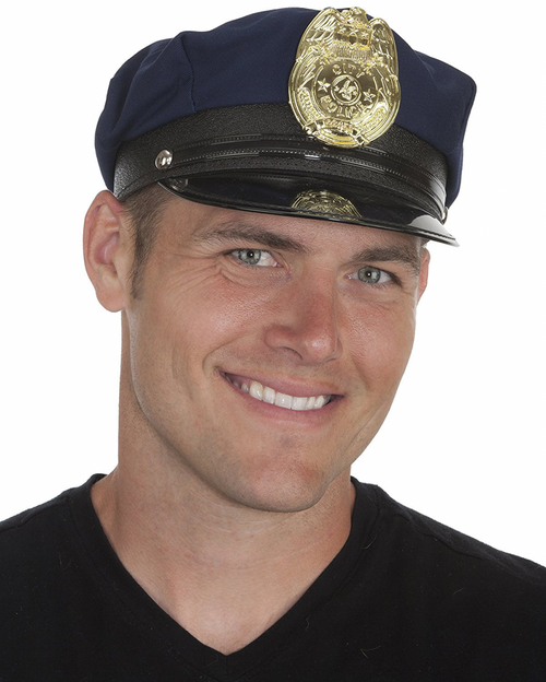 Police Hat Navy Blue with Gold Badge & Adjustable Cap Adult