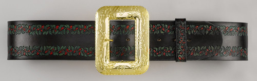 Professional Santa Belt Embossed Leather with Red & Green Holly Decorative Cast Buckle