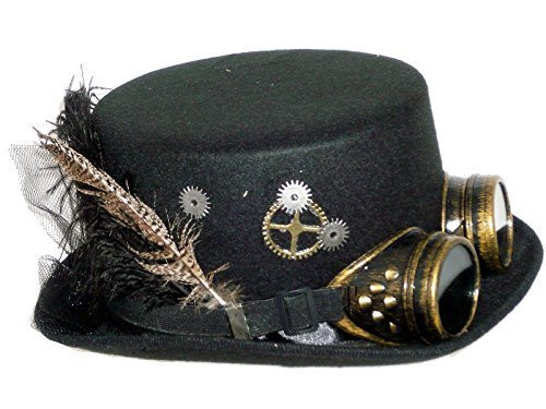 Steampunk Hat w/Gears, Feathers & Antique Brass Finish Goggles
