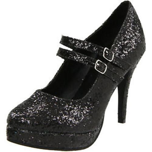Ladies Black Glitter Double Strap Mary Jane